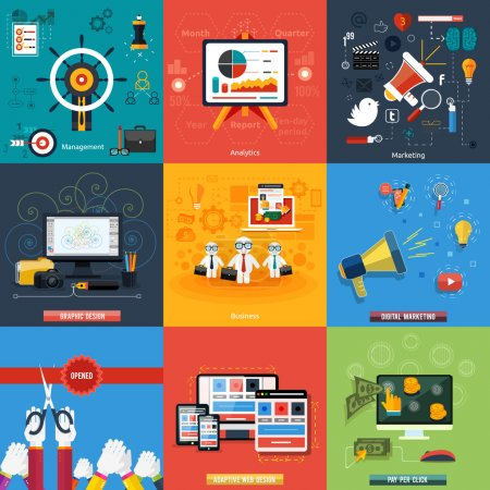 Illustration for Icons for web design, seo, social media and pay per click internet advertising, analytics, business, management, marketing, adaptive design, digital marketing  in flat design - Royalty Free Image