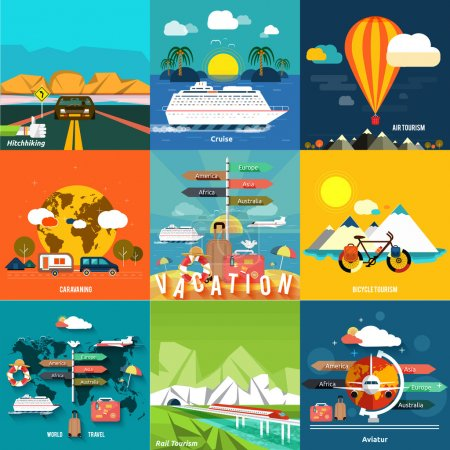 Illustration for Icons set of traveling, planning a summer vacation, tourism and journey objects, hitchhiking and passenger luggage in flat design. Different types of travel. Business travel concept - Royalty Free Image