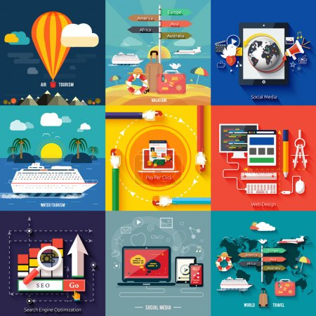 Illustration for Icons for web design, seo, social media and pay per click internet advertising and icons set of traveling, planning a summer vacation in flat design - Royalty Free Image