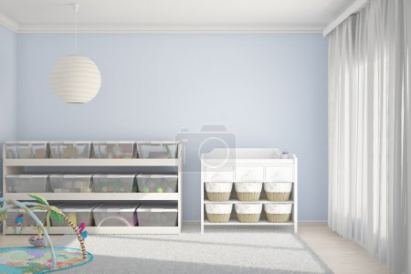 Children room with toys blue