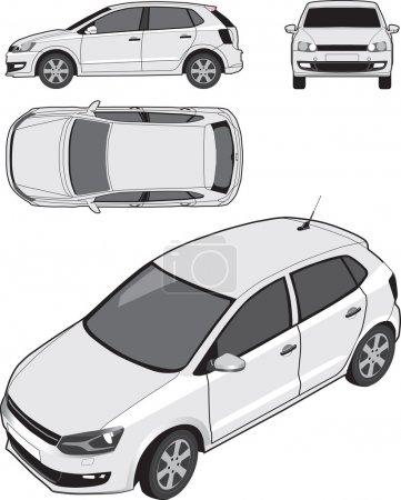 Illustration pour Vues de projection orthographiques et isométriques d'une voiture à hayon compacte . - image libre de droit