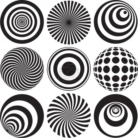 Illustration for Black and white optical art for decorative or corporate applications. - Royalty Free Image