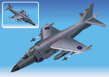 Detailed Isometric Vector Illustration of Royal Navy Sea Harrier