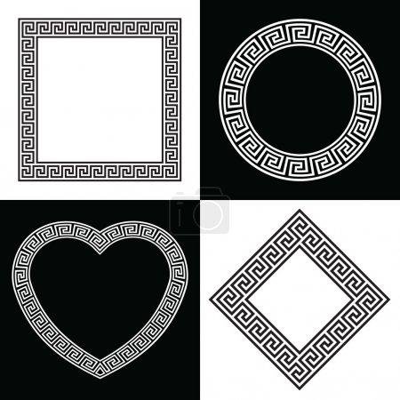 Four Greek Key Pattern Border Frames