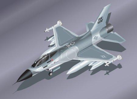illustration d'isométrique détaillée d'un chasseur f-16 sur le terrain