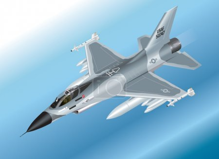 Detailed Isometric Illustration of an F-16 Fighter Jet Airborne