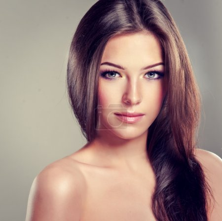 Beautiful brunette with gray eyes