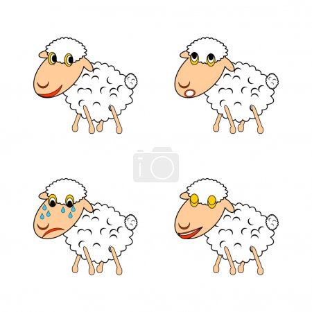 Illustration for A funny sheep expressing different emotions. Vector-art illustration on a white background - Royalty Free Image
