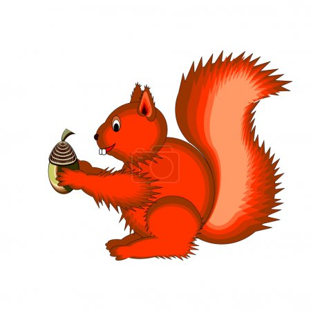 Illustration for Cute cartoon squirrel on a white background. Vector-art illustration - Royalty Free Image