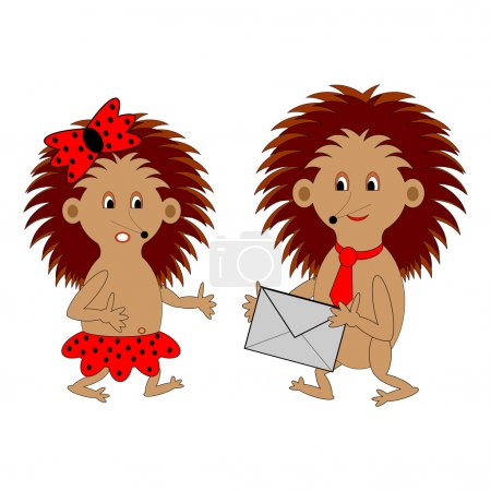 Illustration for A couple of funny cartoon hedgehogs with a letter. Vector-art illustration on a white background - Royalty Free Image