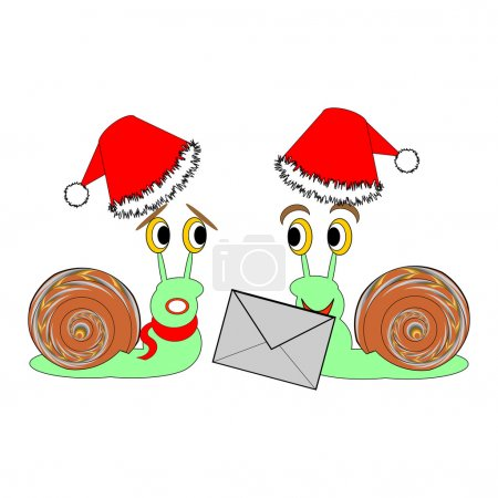 Illustration for Two funny Christmas cartoon snails with a letter. Vector-art illustration - Royalty Free Image