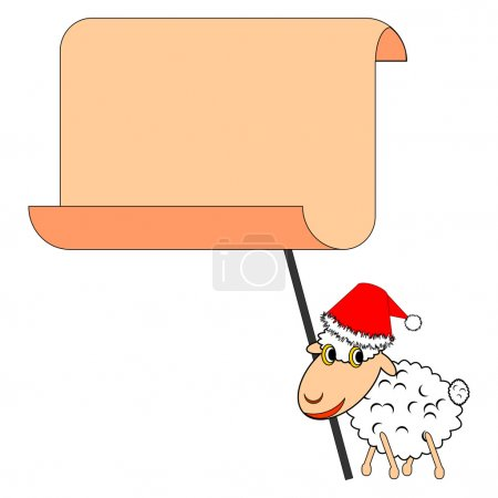 Illustration for A funny Christmas sheep with a big blank paper. Vector-art illustration - Royalty Free Image