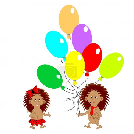 Illustration for A couple of funny hedgehogs with many colorful balloons. Vector-art illustration - Royalty Free Image