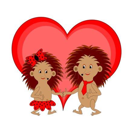 Illustration pour Deux drôles de hérissons de dessins animés au cœur rouge. Illustration d'art vectoriel sur fond blanc - image libre de droit