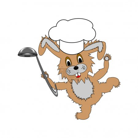 Illustration for A funny cartoon rabbit wearing a chef hat and with a soup ladle in its hand. Vector-art illustration on a white background - Royalty Free Image