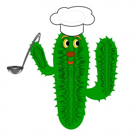 Illustration for A funny cactus with a chef hat and a soup ladle. Vector-art illustration on a white background - Royalty Free Image