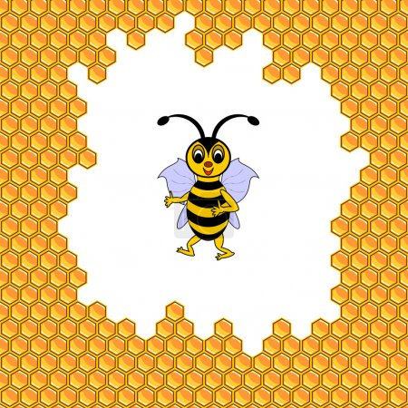 Illustration for A funny cartoon bee surrounded by honeycombs. Vector-art illustration - Royalty Free Image