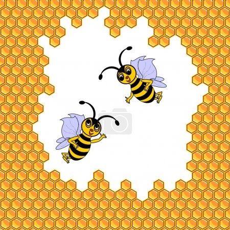 Illustration for Two funny cartoon bees surrounded by honeycombs. Vector-art illustration - Royalty Free Image