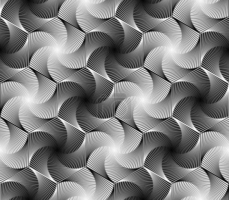 Illustration for Design seamless monochrome hexagon geometric pattern. Abstract whirl lines textured background. Vector art - Royalty Free Image