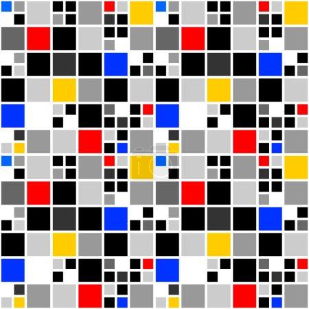 Ilustración de Patrón de diseño colorido mosaico inconsútil. Fondo cuadrado geométrico abstracto. arte vectorial - Imagen libre de derechos