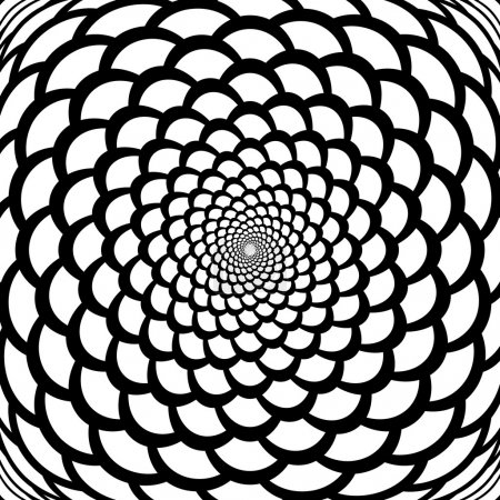Monochrome abstract perspective funnel warped backdrop in op art