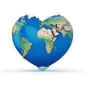 mundo en forma de corazón 3d prestados aislado