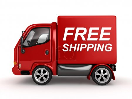 Photo for 3D Red Van with Free Shipping text isolated - Royalty Free Image