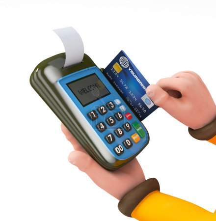3d Hand swiping generic credit card on an over counter POS