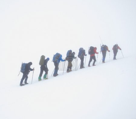 A group of mountaineers storming the peak in the f...