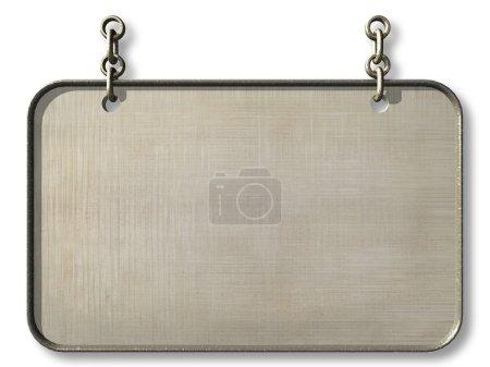 Photo pour Panneau en bois accroché à une chaîne. 3d - image libre de droit