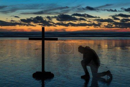 Prayer Sunset Beach Cross