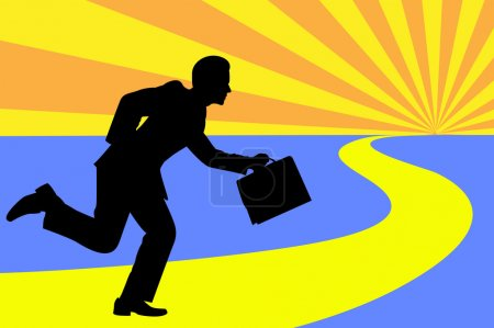 Illustration for The road to success as depicted by man running and holding his bag over sunburst. - Royalty Free Image