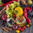 Canned pepper and pear with autumn fruits and vege...