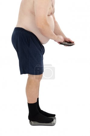 Fat man calculates calories standing on a scales...