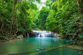 Deep forest waterfall at Erawan waterfall National Park