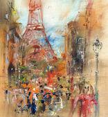 Ulice v Paříži - ilustrace