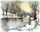 "Постер, картина, фотообои ""Белый мост через реку, зимний пейзаж"""