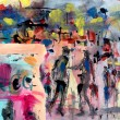 Abstract painting with figures, artistic background
