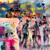 Abstract painting with figures