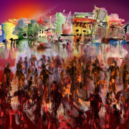 Photo for People on the waterfront, artistic painted background - Royalty Free Image