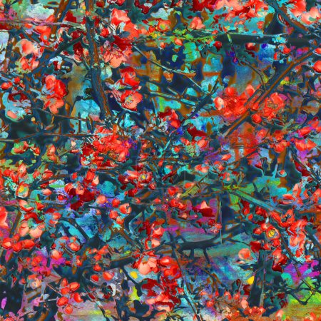 Photo for Artistic background of red flowers combined with painting - Royalty Free Image