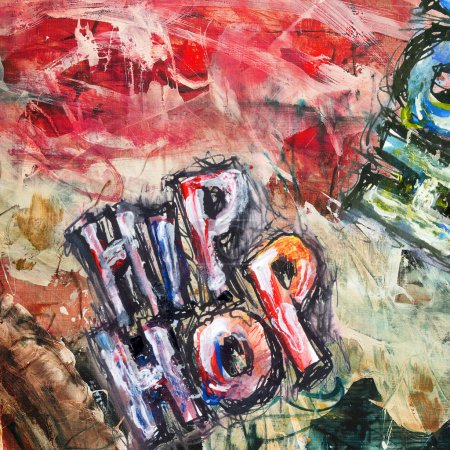 Photo for Hip hop, abstract oil painting, red and blue colors - Royalty Free Image