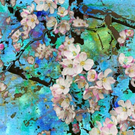 Photo pour Pommier en fleurs, peinture abstraite et fond d'art mixte - image libre de droit