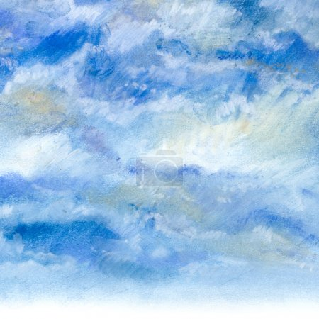 The sky with clouds, drawing with soft pastels art...