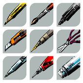 Pero, tužka, nůžky, lepidlo, nůž. kolekce ikon