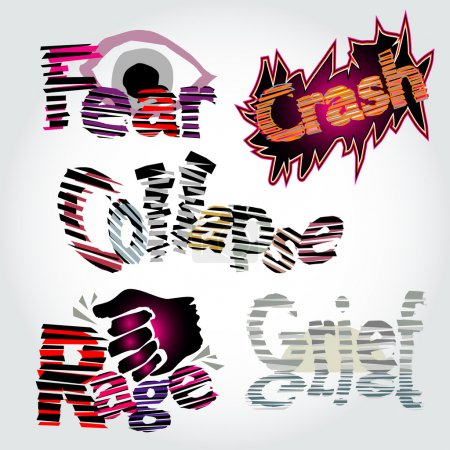Illustration for Fear, crash, collapse, rage and grief, vector illustration - Royalty Free Image