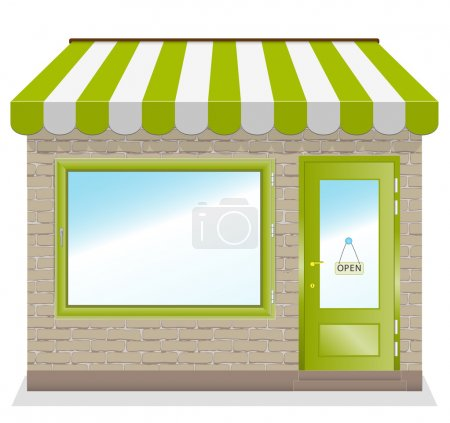 Cute shop icon with green awnings.