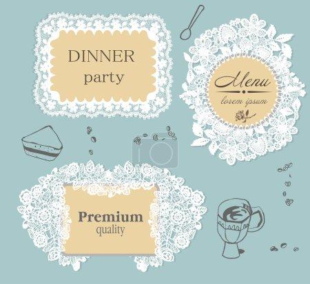 Illustration pour Étiquettes de cadre en dentelle avec éléments de fond dessinés à la main - image libre de droit
