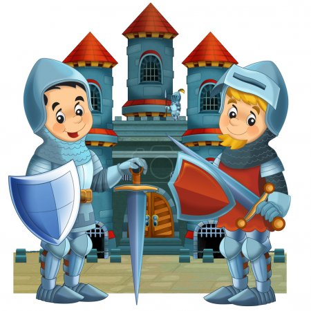 The cartoon medieval illustration of two knights - for the children