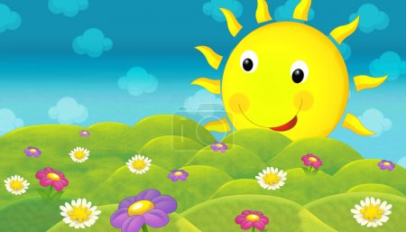 The happy and colorful illustration of field and smiley sun for the children